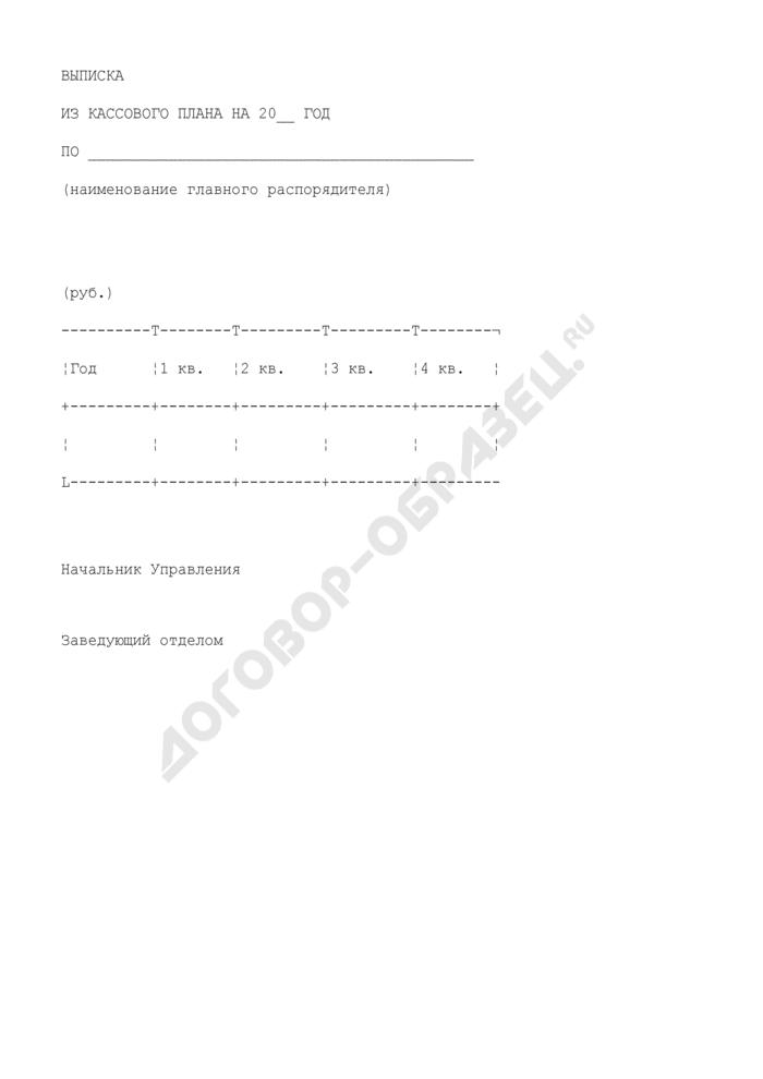 Выписка из кассового плана исполнения бюджета Московской области. Страница 1