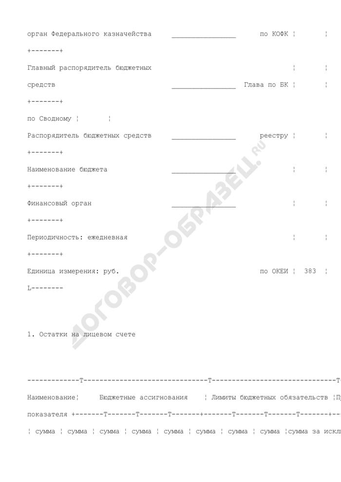 Выписка из лицевого счета главного распорядителя (распорядителя) бюджетных средств (для отражения операций). Страница 2