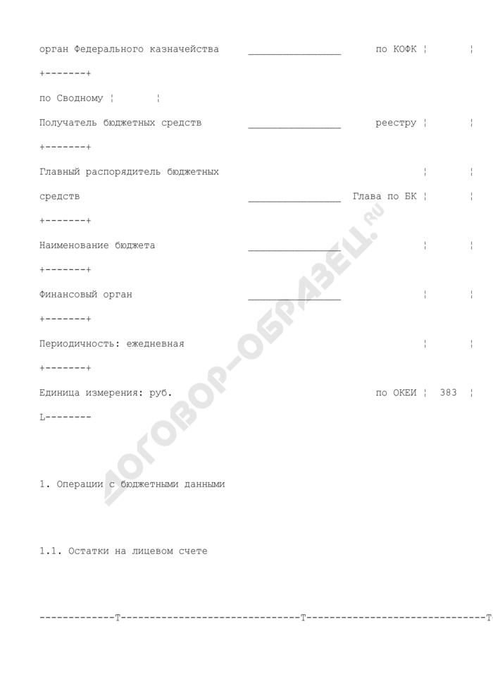 Выписка из лицевого счета получателя бюджетных средств (для отражения операций). Страница 2