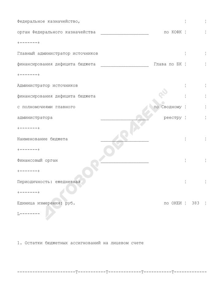 Выписка из лицевого счета главного администратора источников финансирования дефицита бюджета (администратора источников финансирования дефицита бюджета с полномочиями главного администратора) (для отражения операций). Страница 2