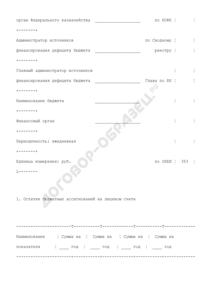 Выписка из лицевого счета администратора источников финансирования дефицита бюджета (для отражения операций). Страница 2