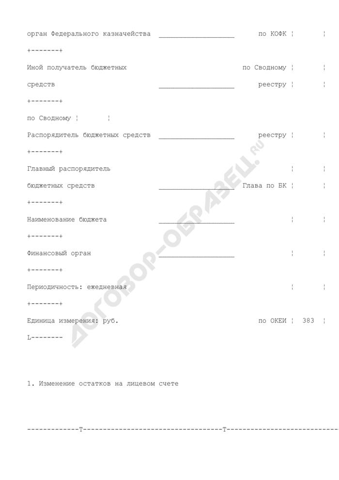 Выписка из лицевого счета иного получателя бюджетных средств (для отражения операций). Страница 2