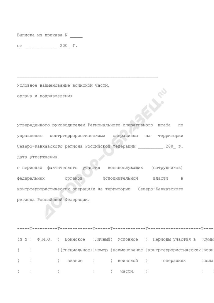 Выписка из приказа о периодах фактического участия военнослужащих (сотрудников) федеральных органов исполнительной власти в контртеррористических операциях на территории Северо-Кавказского региона Российской Федерации. Страница 1