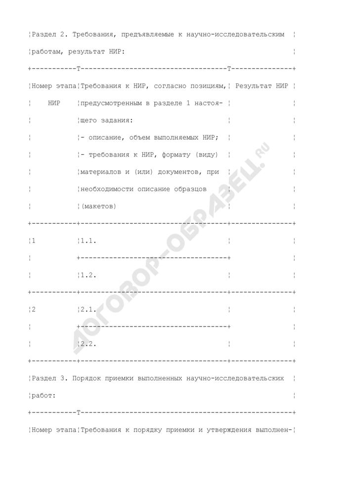 Задание на выполнение научно-исследовательских работ (приложение к государственному контракту на выполнение научно-исследовательских работ для государственных нужд). Страница 2