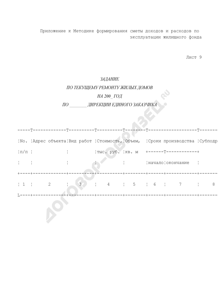 Хозяйственно-финансовый план службы заказчика административного округа. Задание по текущему ремонту жилых домов по дирекции единого заказчика (лист 9). Страница 1