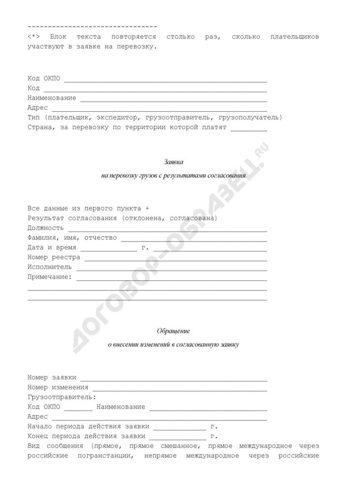 """Формализованный текстовый вид электронных документов, применяемых сторонами при обмене. Заявка на перевозку грузов (приложение к соглашению об обмене электронными документами, подписанными электронной цифровой подписью, при перевозке грузов ОАО """"РЖД""""). Страница 3"""