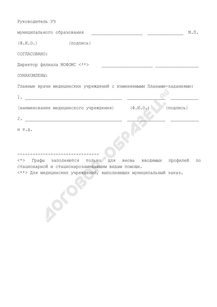 Заявка на изменение объемов плана-задания медицинского учреждения Московской области. Страница 2
