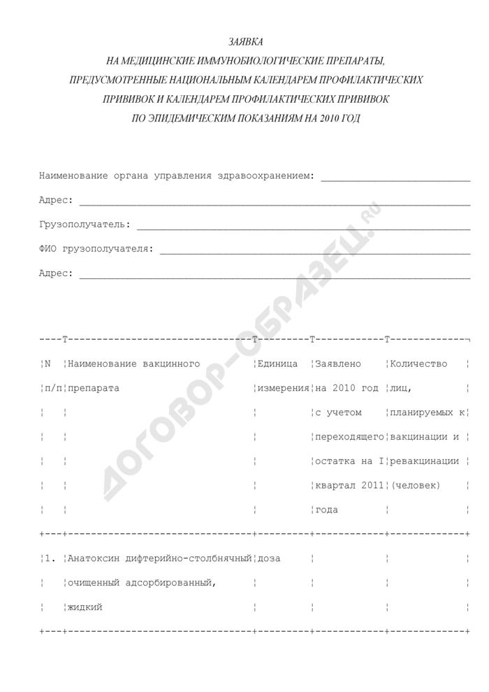 Заявка на медицинские иммунобиологические препараты, предусмотренные национальным календарем профилактических прививок и календарем профилактических прививок по эпидемическим показаниям на 2010 год для иммунизации населения Московской области. Страница 1