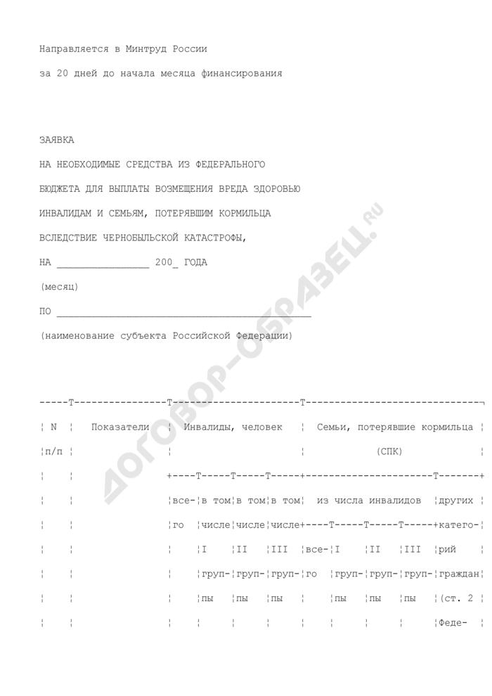 Заявка на необходимые средства из федерального бюджета для выплаты возмещения вреда здоровью инвалидам и семьям, потерявшим кормильца вследствие чернобыльской катастрофы. Страница 1