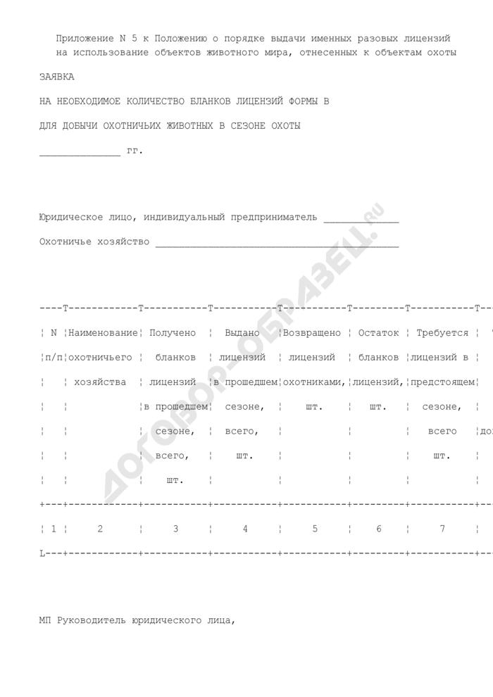 Заявка на необходимое количество бланков лицензий формы В для добычи охотничьих животных в сезоне охоты. Страница 1