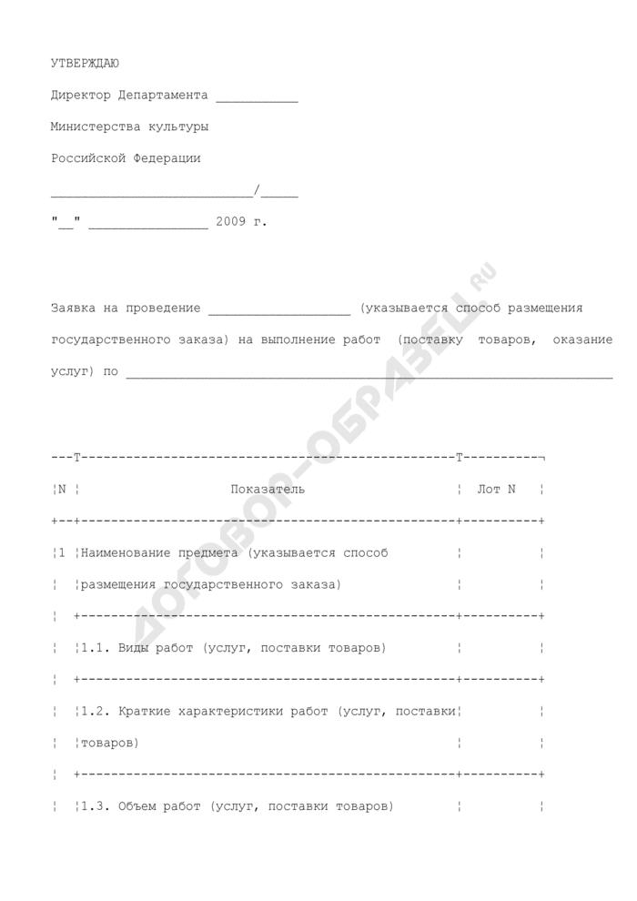 Заявка на организацию размещения государственного заказа на выполнение работ (поставку товаров, оказание услуг для нужд Министерства культуры Российской Федерации. Страница 1