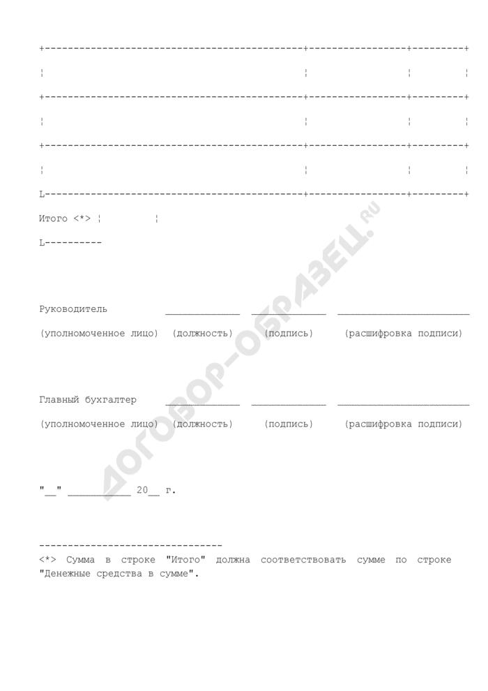 Заявка на получение наличных денежных средств, перечисляемых на банковскую карту. Страница 3