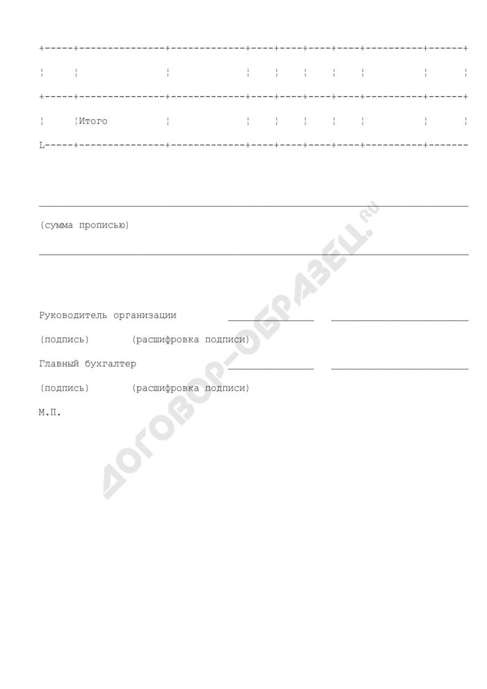 Заявка на получение наличных денежных средств для подтверждения денежных обязательств, подлежащих исполнению за счет средств бюджета города Климовска Московской области. Страница 3