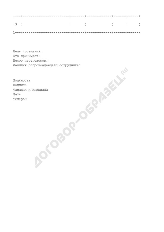 Заявка на посещение зданий департамента иностранными гражданами (делегациями). Страница 2