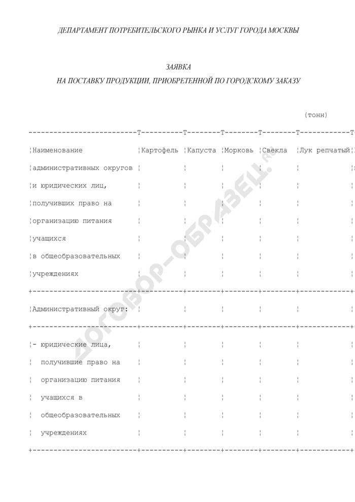 Заявка на поставку продукции для административных округов и юридических лиц, получивших право на организацию питания учащихся города Москвы, приобретенной по городскому заказу. Страница 1