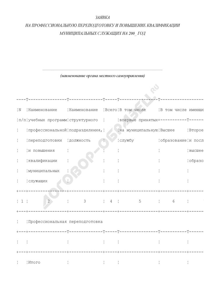 Заявка на профессиональную переподготовку и повышение квалификации муниципальных служащих городского округа Климовск Московской области. Страница 1