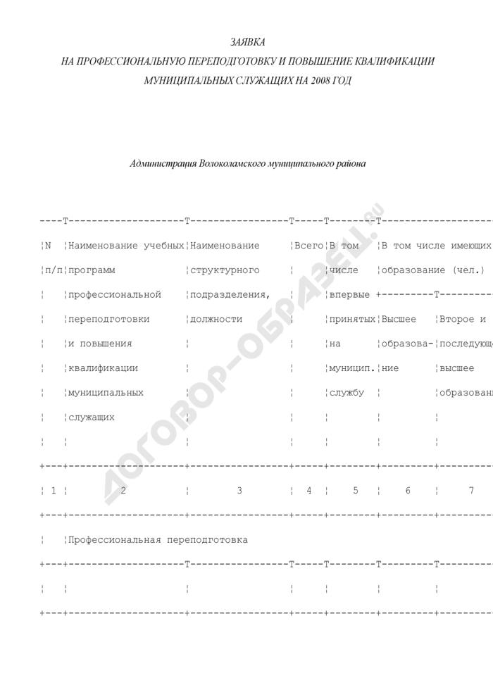 Заявка на профессиональную переподготовку и повышение квалификации муниципальных служащих Волоколамского муниципального района Московской области. Страница 1