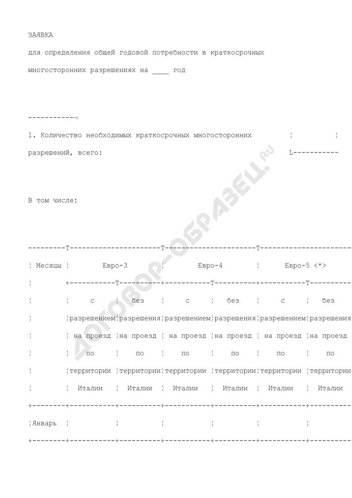 Заявка для определения общей годовой потребности в краткосрочных многосторонних разрешениях. Страница 1