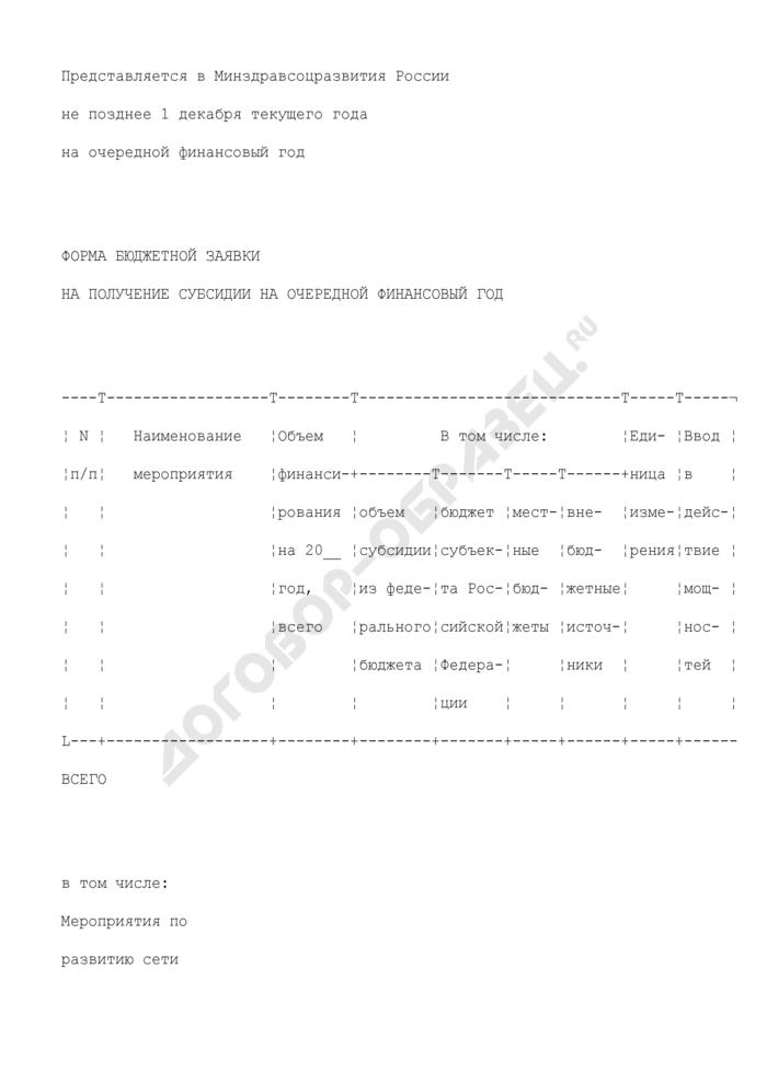 Форма бюджетной заявки на получение субсидии на очередной финансовый год (приложение к соглашению о предоставлении в 2009 году субсидии из федерального бюджета бюджету субъекта Российской Федерации для софинансирования расходных обязательств по реализации региональных и (или) муниципальных целевых программ, включающих мероприятия, предусматривающие развитие сети учреждений первичной медико-санитарной помощи). Страница 1