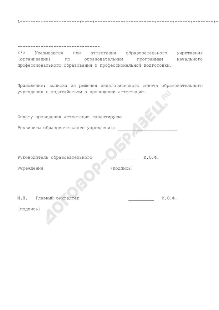 Заявление о проведении аттестации государственного образовательного учреждения среднего профессионального образования по основным и дополнительным образовательным программам. Страница 3