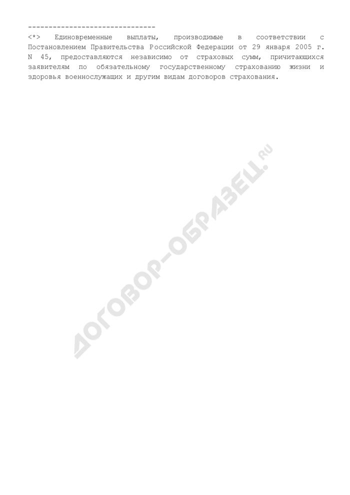 Заявление об отказе от получения единовременных выплат, право на которые заявитель одновременно имеет в соответствии с законодательством Российской Федерации (члены семей кадровых сотрудников разведки). Страница 3