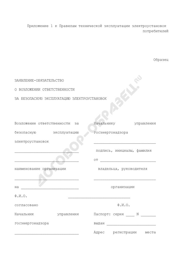 Заявление-обязательство о возложении ответственности за безопасную эксплуатацию электроустановок. Страница 1