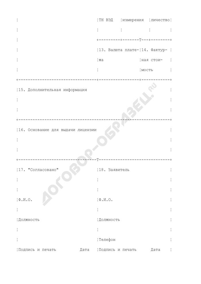Заявление для получения лицензии на экспорт и (или) импорт отдельных видов товаров. Страница 2