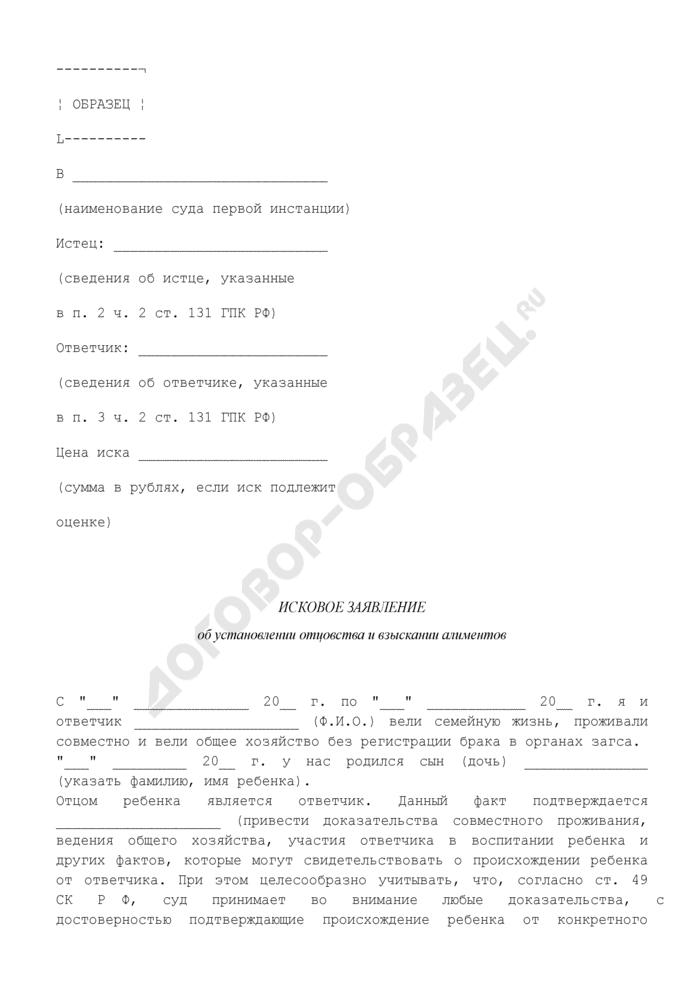 Исковое заявление об установлении отцовства и взыскании алиментов (образец). Страница 1