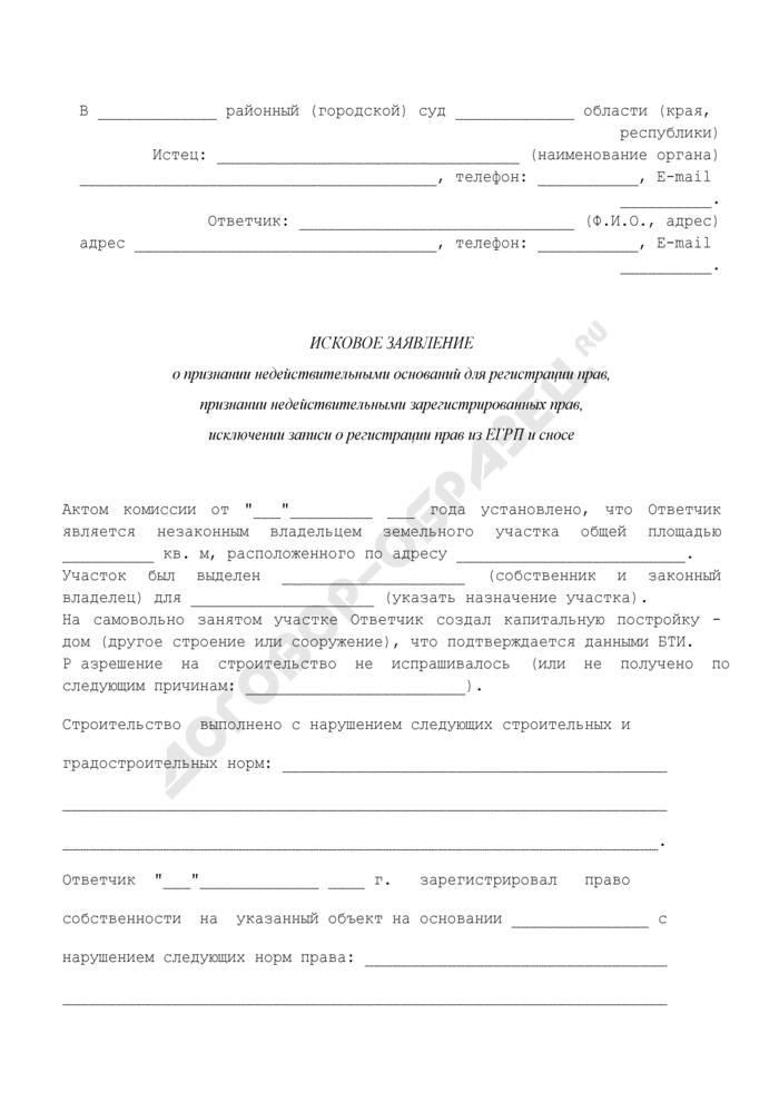 Исковое заявление о признании недействительными оснований для регистрации прав на земельный участок, признании недействительными зарегистрированных прав, исключении записи о регистрации прав из ЕГРП и сносе постройки. Страница 1