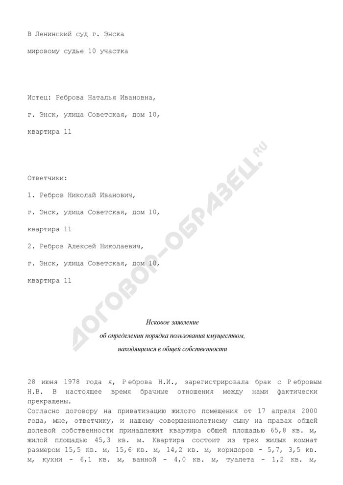 Исковое заявление об определении порядка пользования имуществом, находящимся в общей собственности (пример). Страница 1
