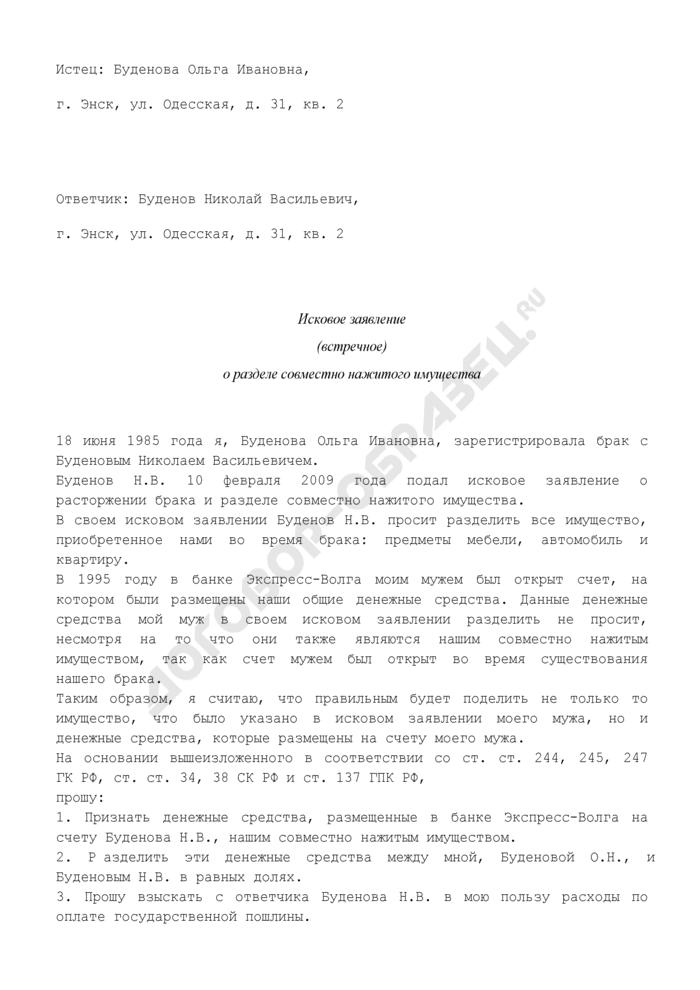Исковое заявление (встречное) о разделе совместно нажитого имущества (пример). Страница 1