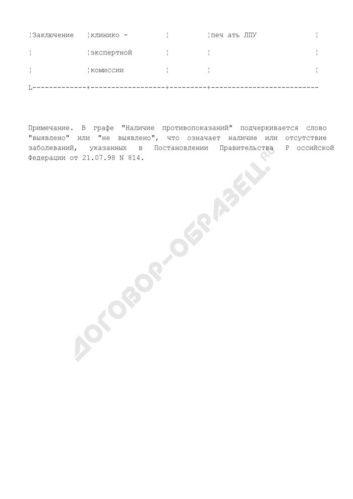 Медицинское заключение по результатам освидетельствования гражданина для получения лицензии на приобретение оружия. Форма N 046-1. Страница 3