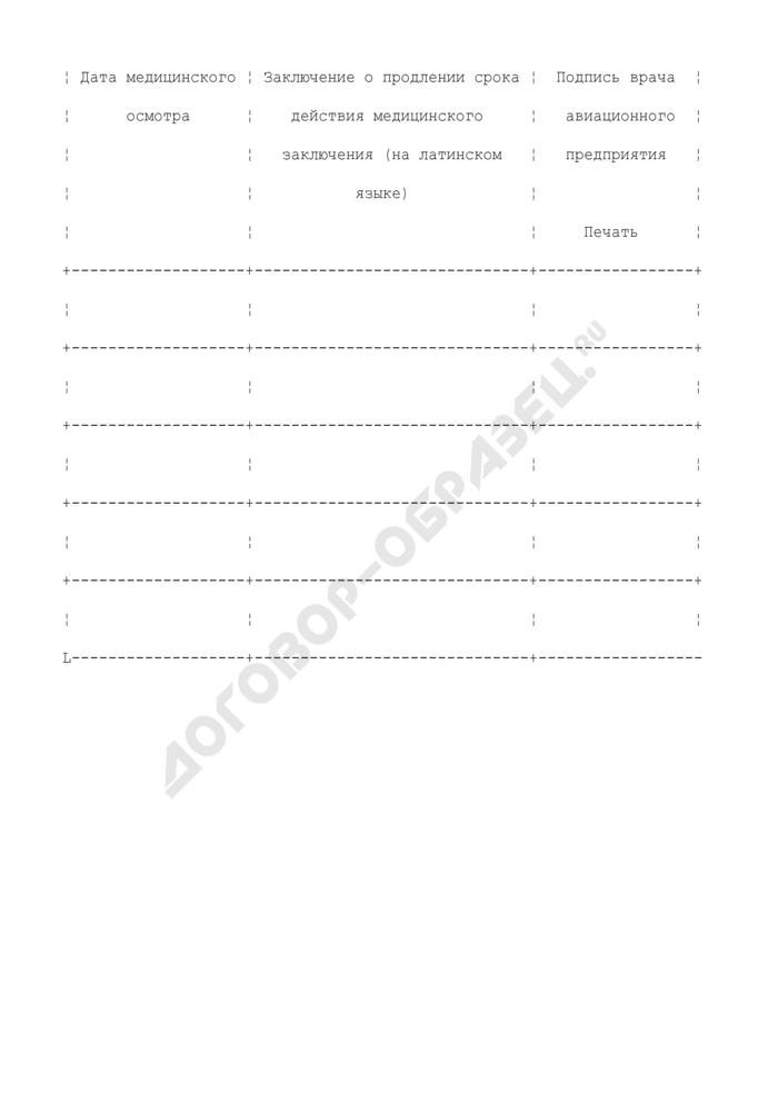 Медицинское заключение по результатам медицинского освидетельствования авиационного персонала. Страница 3