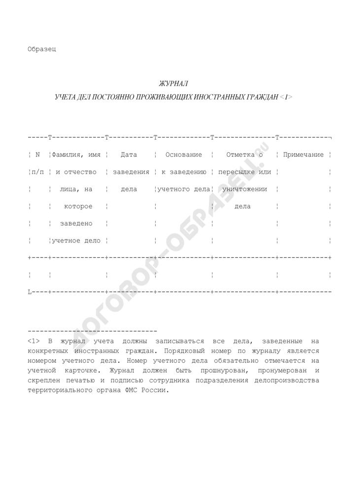 Журнал учета дел постоянно проживающих в Российской Федерации иностранных граждан (образец). Страница 1