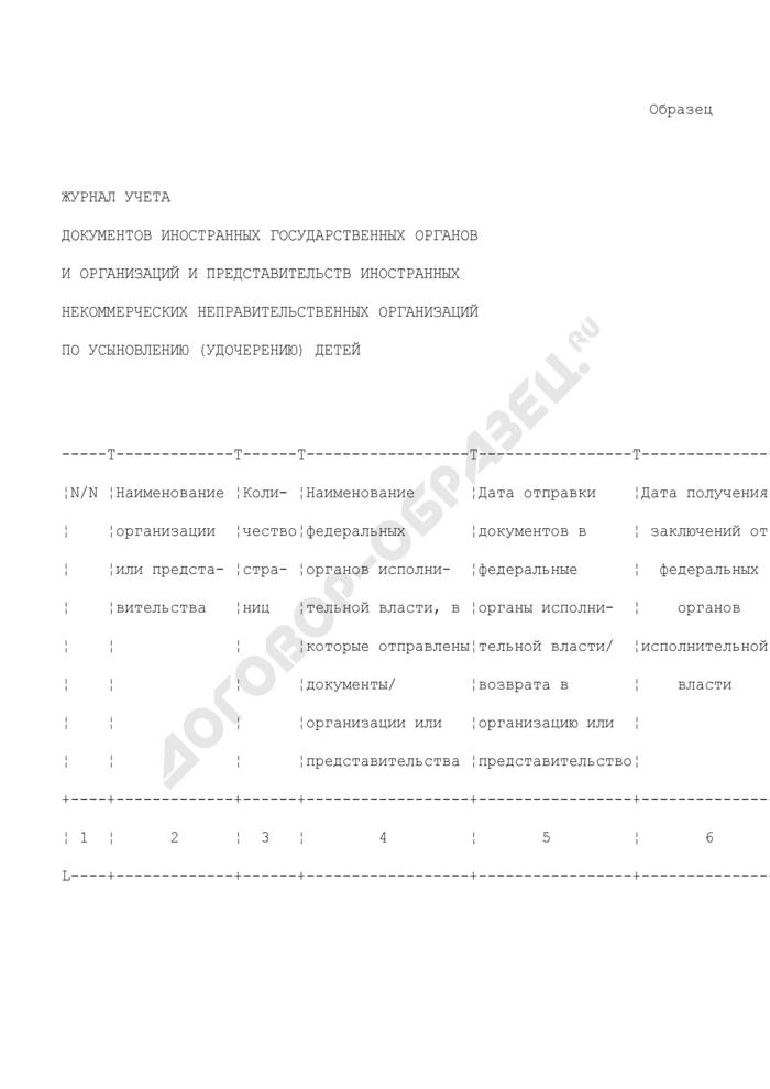 Журнал учета документов иностранных государственных органов и организаций и представительств иностранных некоммерческих неправительственных организаций по усыновлению (удочерению) детей (образец). Страница 1