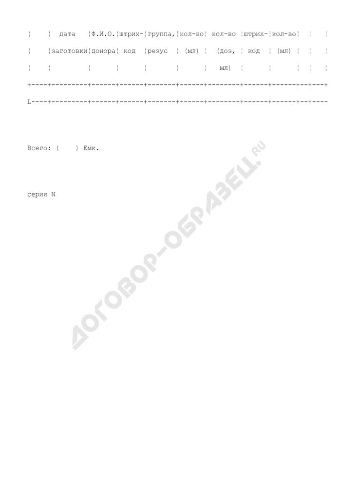 Журнал учета заготовки криопреципитата. Форма N 434/у-П2. Страница 2