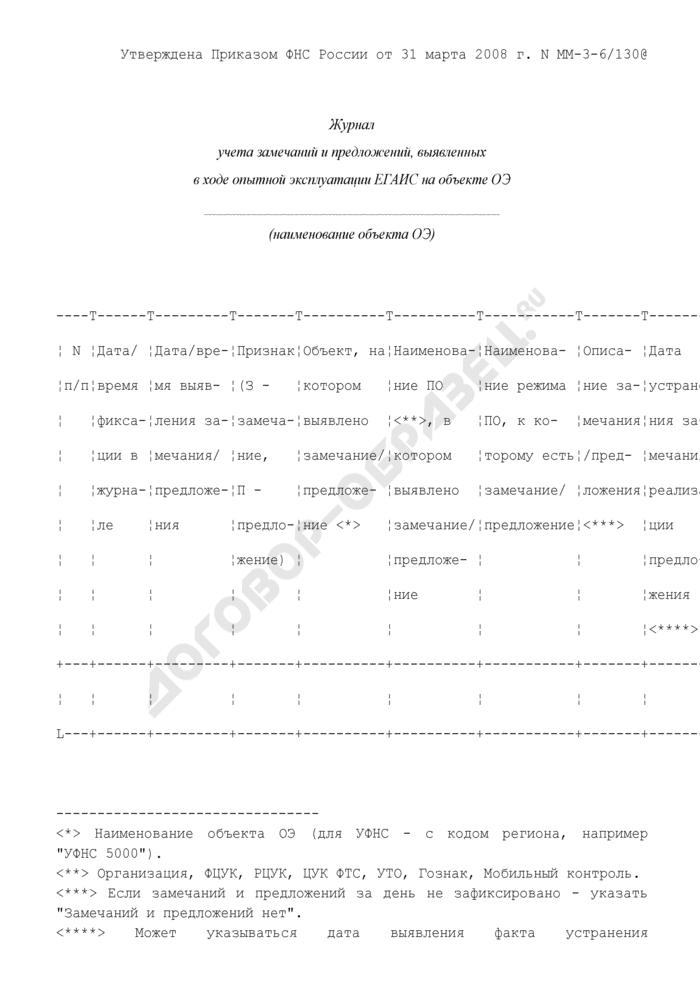 Журнал учета замечаний и предложений, выявленных в ходе опытной эксплуатации ЕГАИС на объекте ОЭ. Страница 1