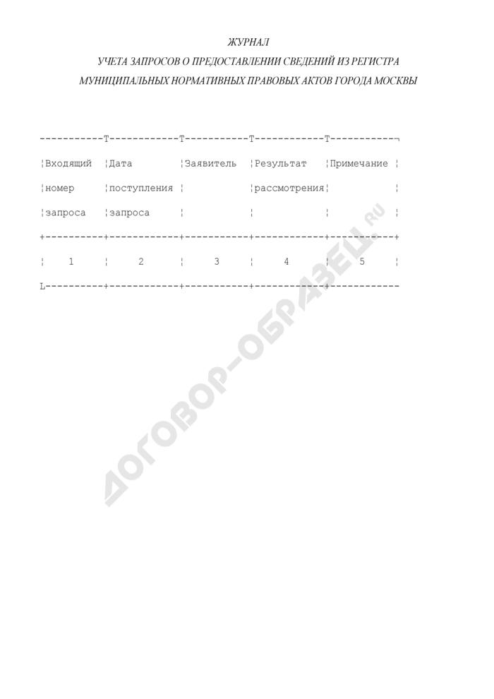 Журнал учета запросов о предоставлении сведений из Регистра муниципальных нормативных правовых актов города Москвы. Страница 1