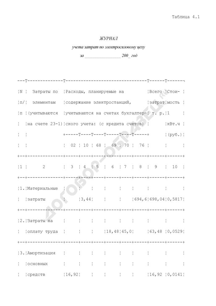 Журнал учета затрат по электросиловому цеху на хлебоприемных и зерноперерабатывающих предприятиях (образец). Страница 1