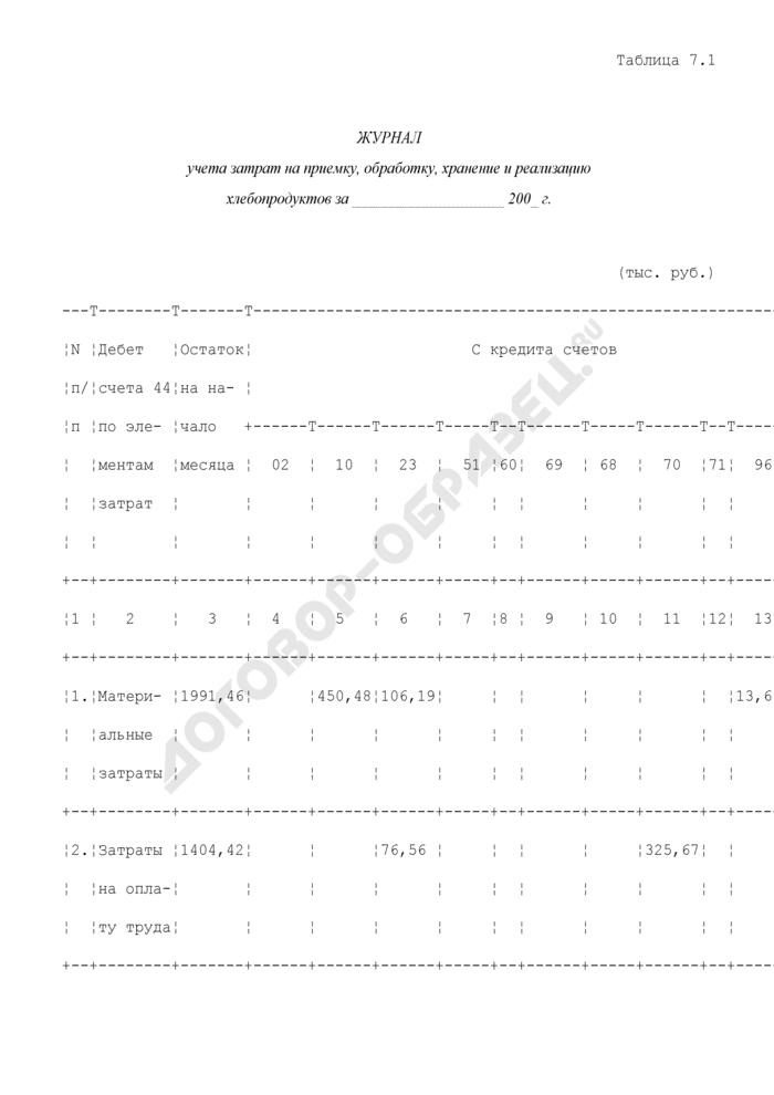Журнал учета затрат на приемку, обработку, хранение и реализацию хлебопродуктов на хлебоприемных и зерноперерабатывающих предприятиях (образец). Страница 1