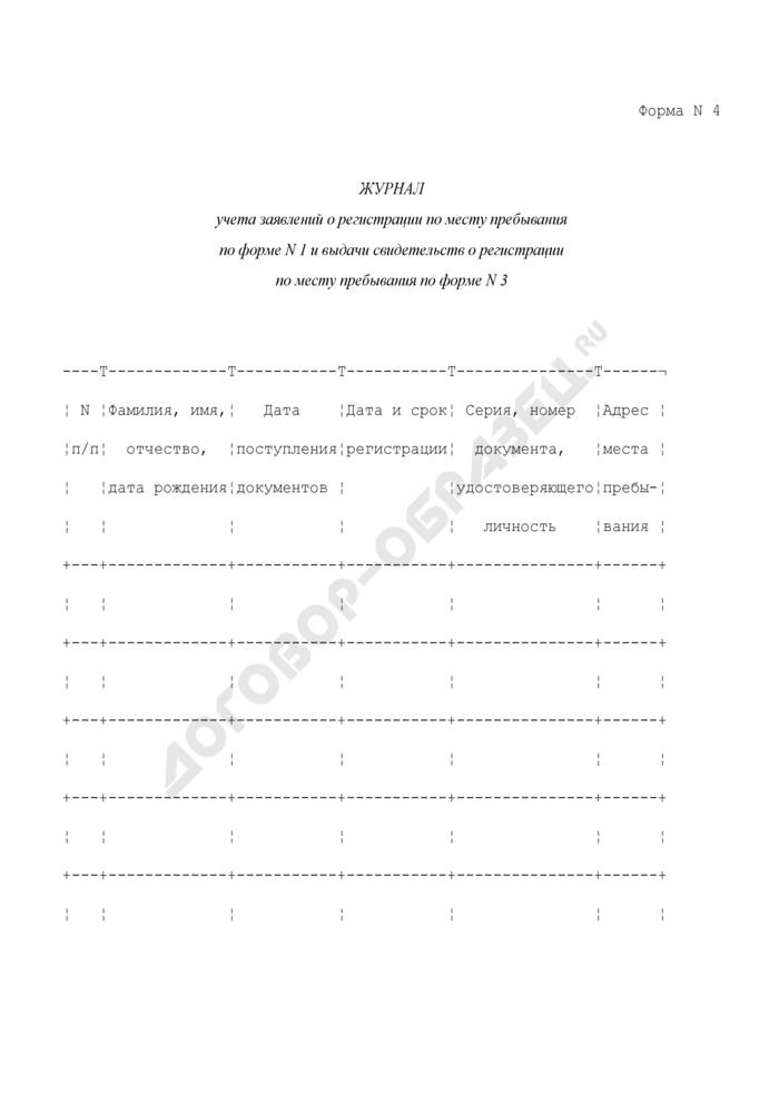 Журнал учета заявлений о регистрации по месту пребывания по форме N 1 и выдачи свидетельств о регистрации по месту пребывания по форме N 3. Форма N 4. Страница 1