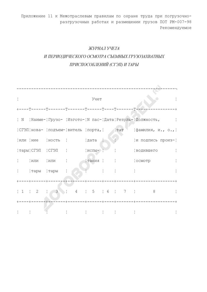 Журнал учета и периодического осмотра съемных грузозахватных приспособлений (СГЭП) и тары (рекомендуемая форма). Страница 1