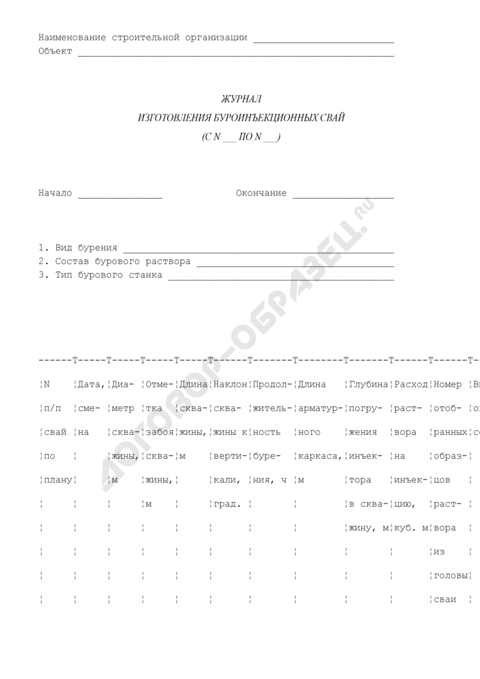 Журнал изготовления буроинъекционных свай. Страница 1