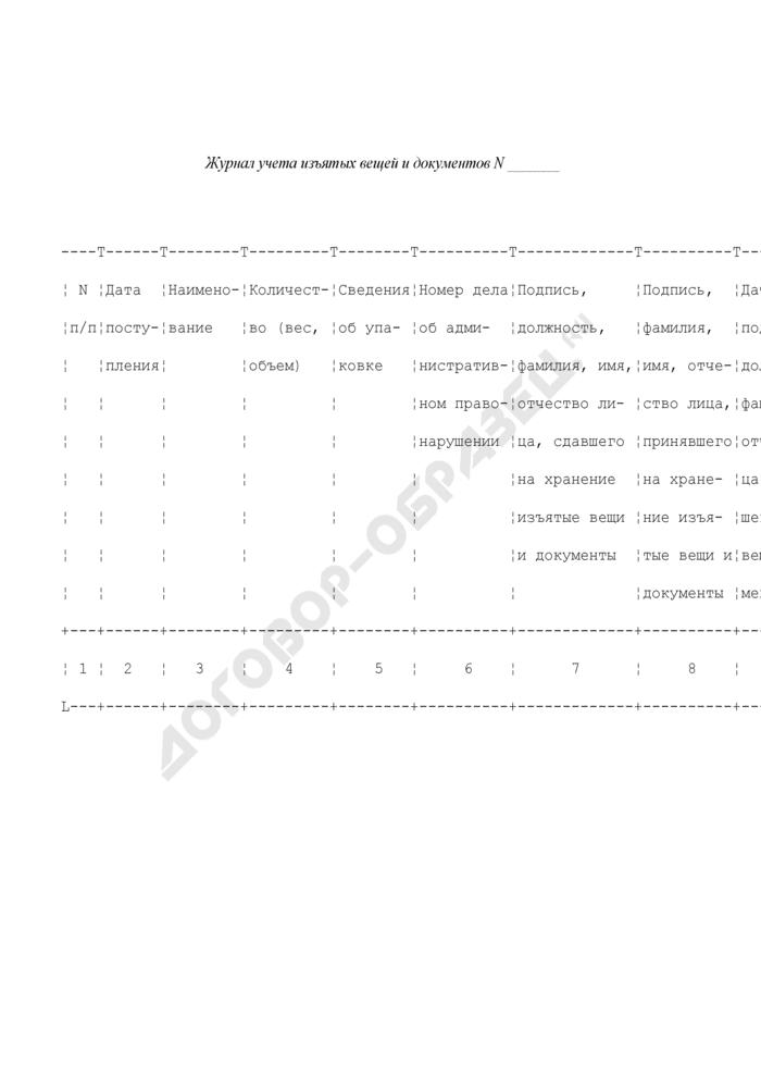 Журнал учета изъятых вещей и документов до рассмотрения дела об административном правонарушении в территориальных органах ФСКН России. Страница 1