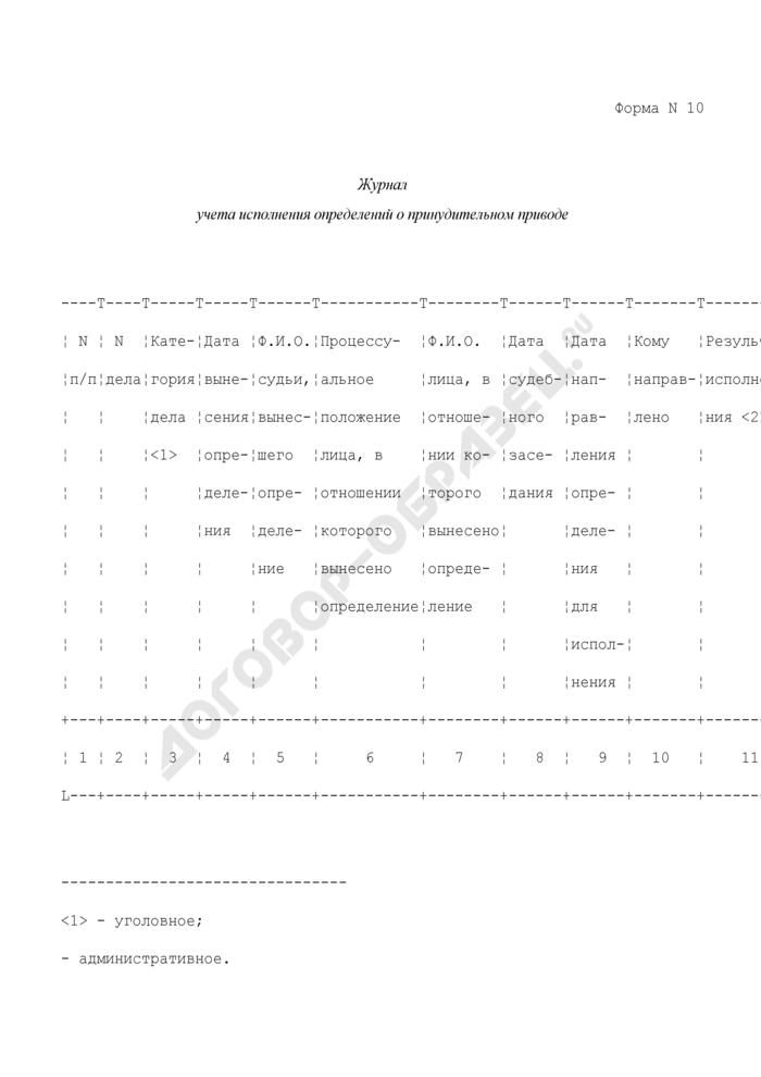 Журнал учета исполнения определений о принудительном приводе. Форма N 10. Страница 1