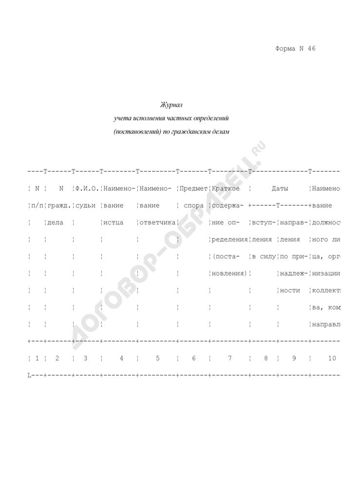 Журнал учета исполнения частных определений (постановлений) по гражданским делам. Форма N 46. Страница 1