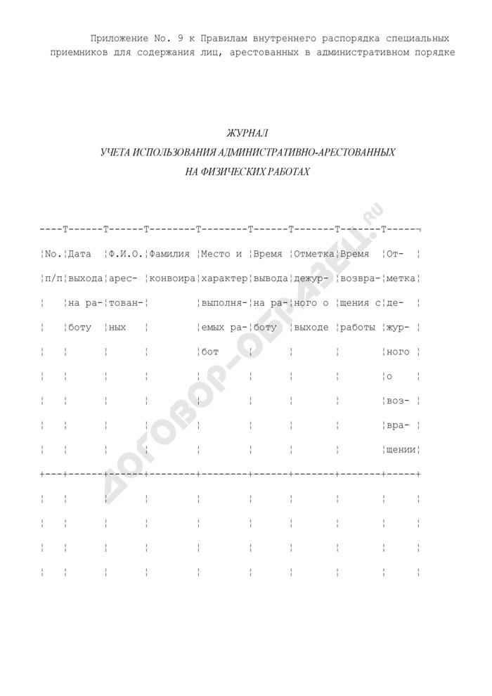 Журнал учета использования административно - арестованных на физических работах. Страница 1