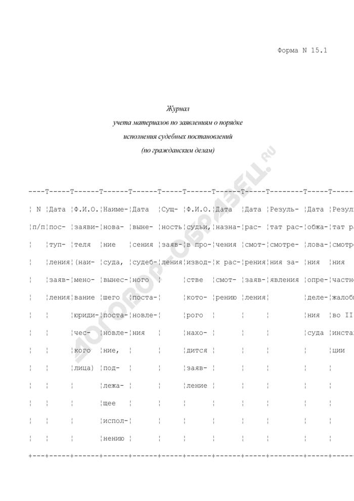 Журнал учета материалов по заявлениям о порядке исполнения судебных постановлений (по гражданским делам). Форма N 15.1. Страница 1