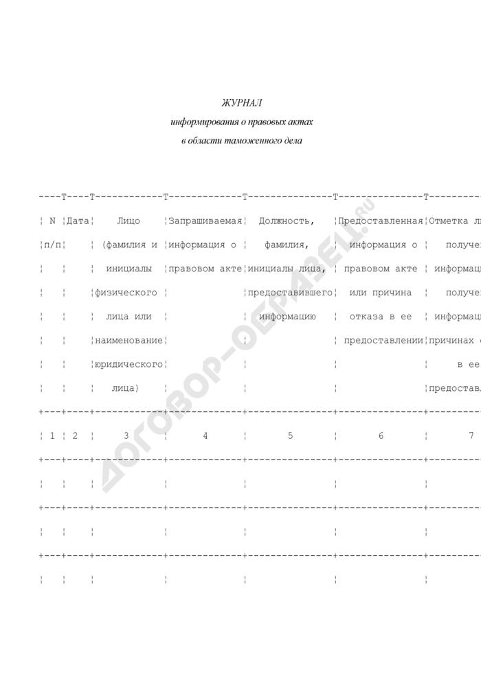 Журнал информирования о правовых актах в области таможенного дела. Страница 1