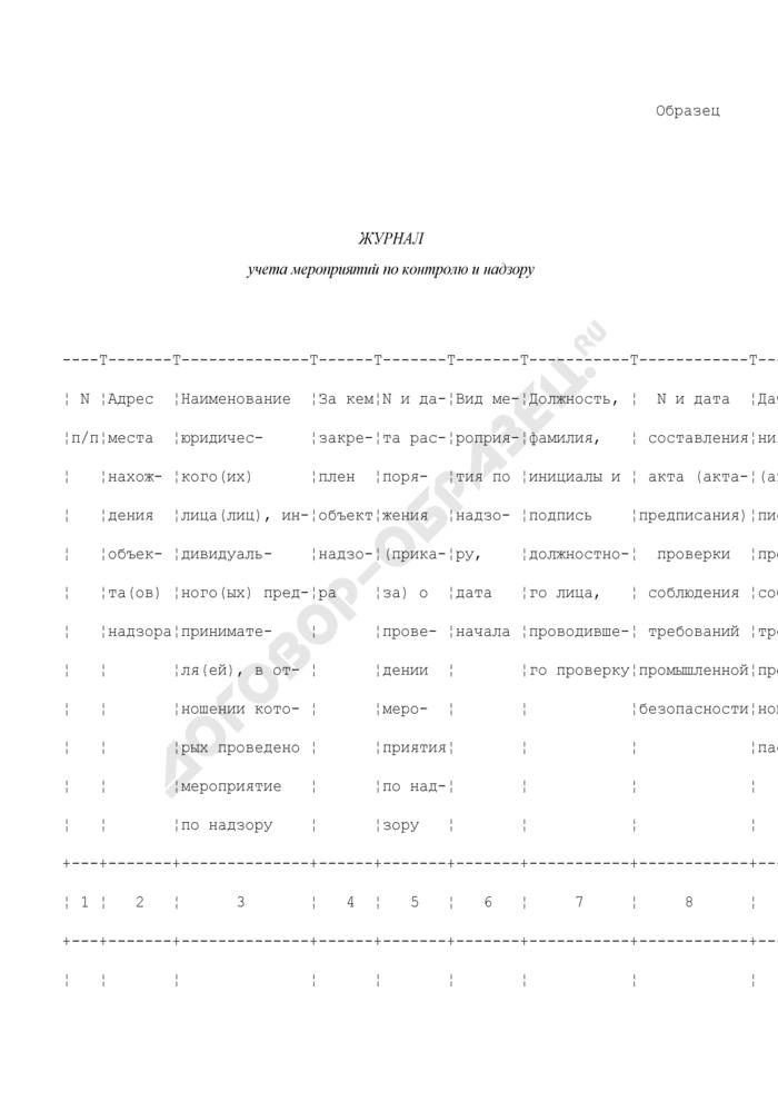Журнал учета мероприятий по контролю и надзору за соблюдением требований промышленной безопасности на опасных производственных объектах (образец). Страница 1
